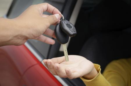 Handling over car keys