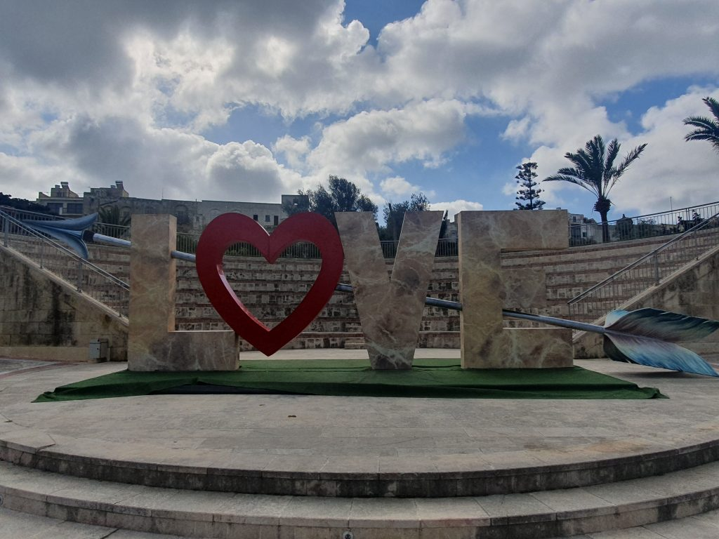 Love sign at the Villa Rundle gardens in Gozo