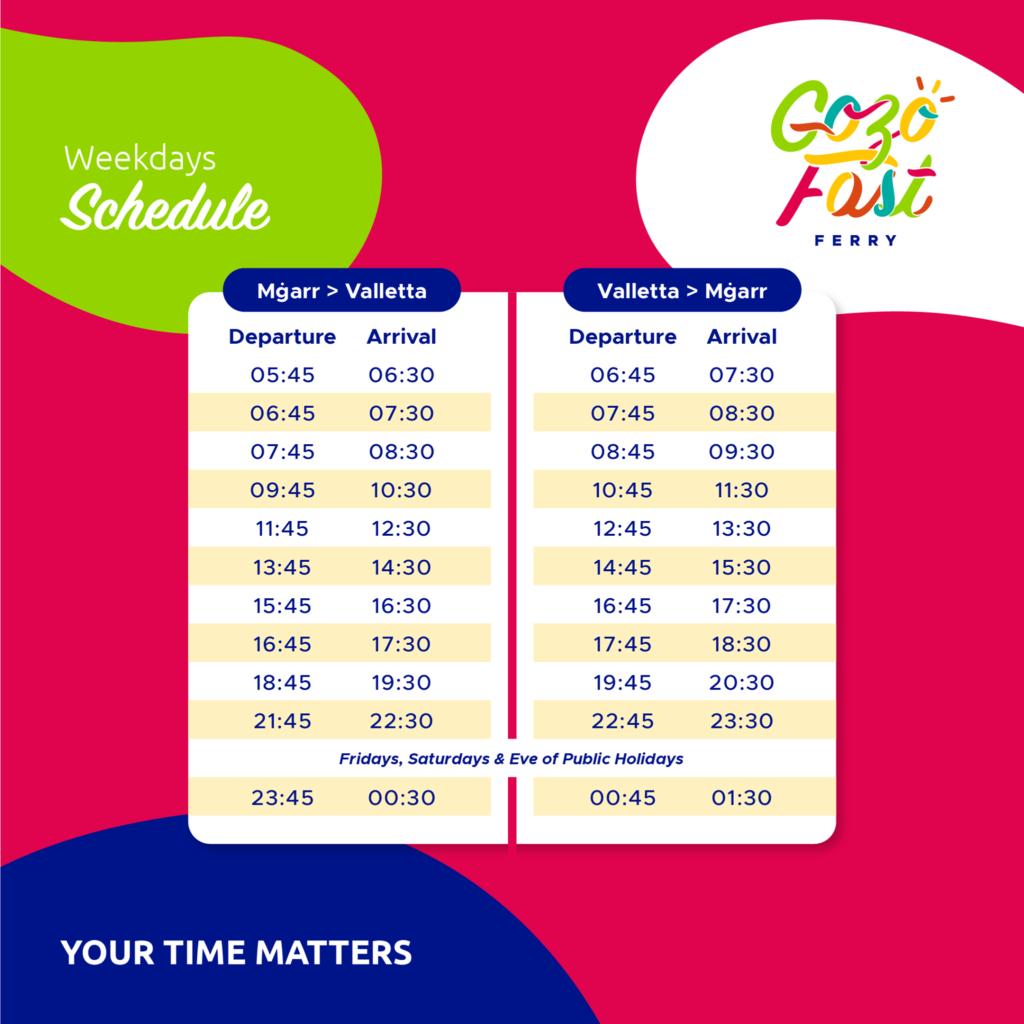 Gozo Fast Ferry weekdays timetable