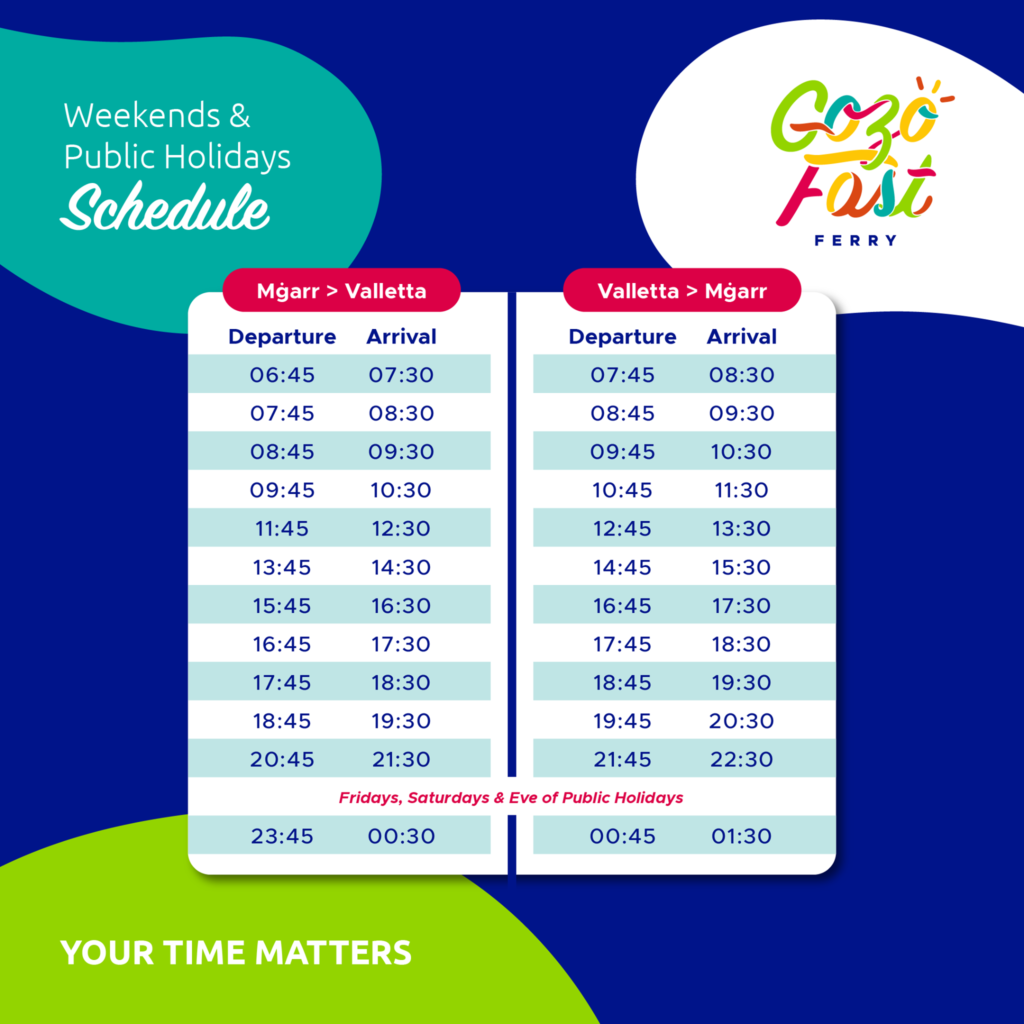 Gozo fast ferry weekends timetable
