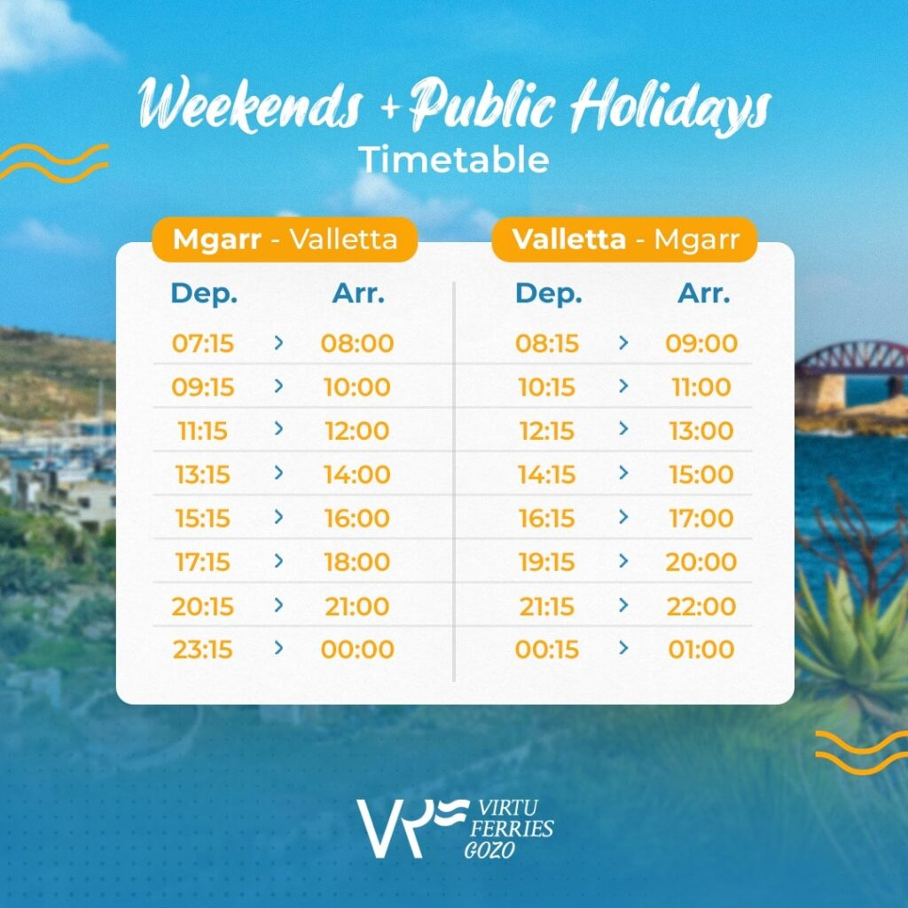Virtu gozo fast ferry weekends and public holidays schedule