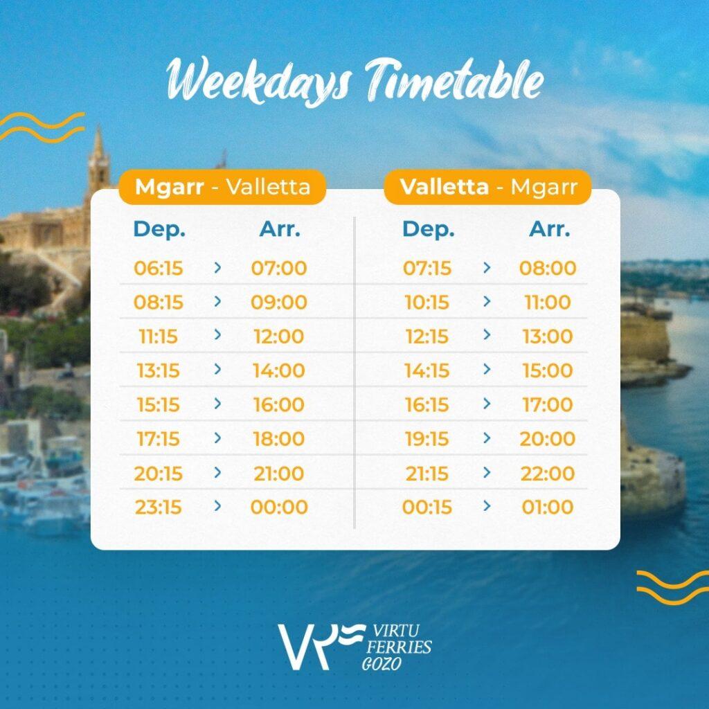 Virtu gozo fast ferry weekdays schedule
